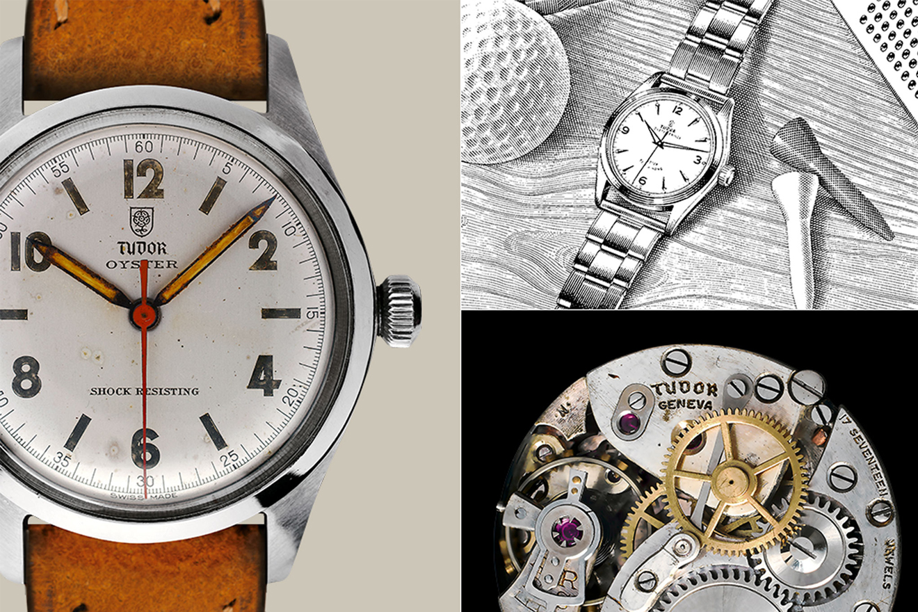 Triptych of Tudor Oyster watch with worn leather strap, hatched ink illustration of a watch, and the inner mechanisms of a Tudor watch